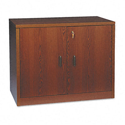 10500 Series Storage Cabinet With Doors, 36w x 20d x 29-1/2h, Mahogany