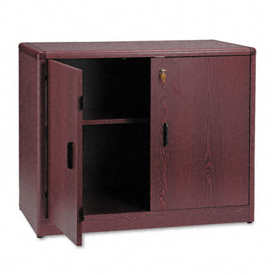 10700 Series Locking Storage Cabinet, 36w x 20d x 29-1/2h, Mahogany