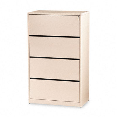 10700 Series Four-Drawer Lateral File, 36w x 20d x 59-1/8h, Natural Maple