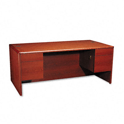 10700 Series Desk, 3/4-Height Double Pedestals, 72 x 36 x 29-1/2, Henna Cherry