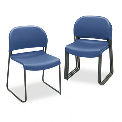 Gueststacker Chair, Blue w/Black Finish Legs, 4/Carton - HON403190T