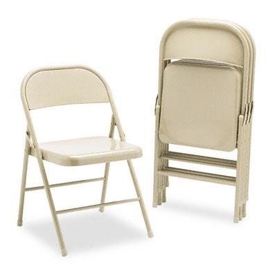 All-Steel Folding Chairs, Light Beige, 4/Carton