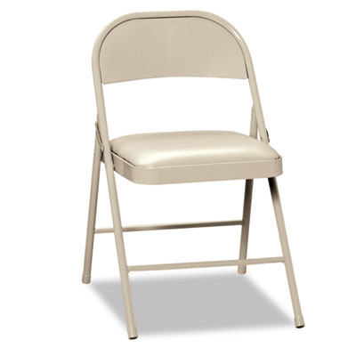 Steel Folding Chairs w/Padded Seat, Light Beige, 4/Carton - HONFC02LBG