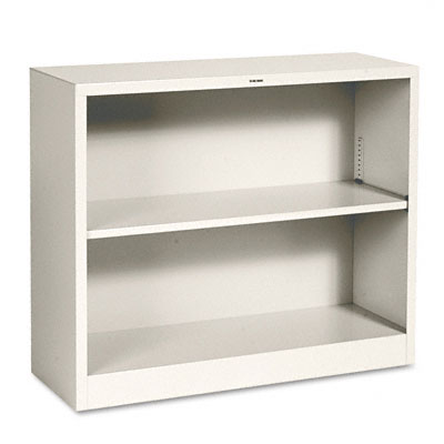 Metal Bookcase, 2 Shelves, 34-1/2w x 12-5/8d x 29h, Putty