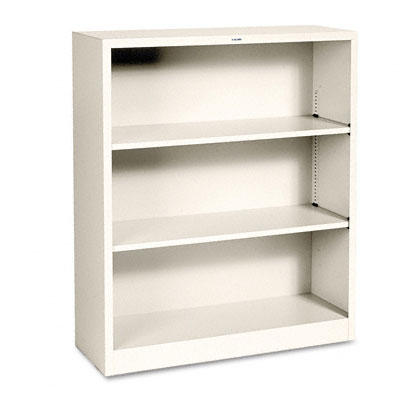 Metal Bookcase, 3 Shelves, 34-1/2w x 12-5/8d x 41h, Putty