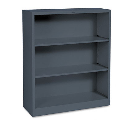 Metal Bookcase, 3 Shelves, 34-1/2w x 12-5/8d x 41h, Charcoal