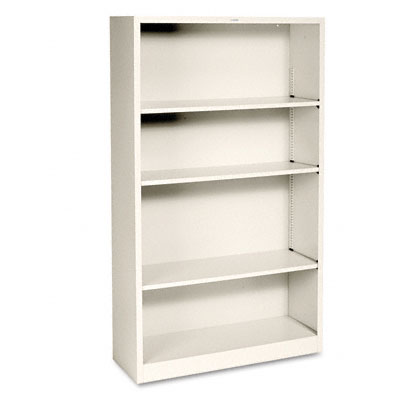 Metal Bookcase, 4 Shelves, 34-1/2w x 12-5/8d x 59h, Putty