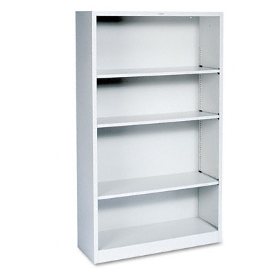 Metal Bookcase, 4 Shelves, 34-1/2w x 12-5/8d x 59h, Light Gray