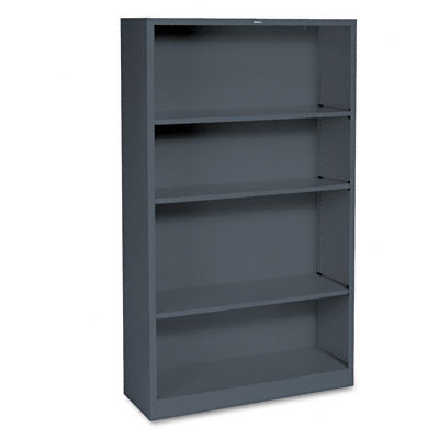 Metal Bookcase, 4 Shelves, 34-1/2w x 12-5/8d x 59h, Charcoal