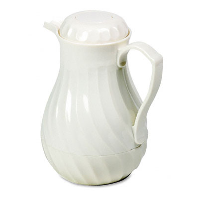 Poly Lined Carafe, Swirl Design, 64 oz. Capacity, White