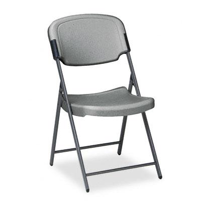 Rough `n` Ready Polyethylene Folding Chair w/Steel Frame, Charcoal