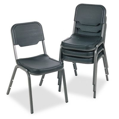 "Rough ""n"" Ready Original Stack Chair, Black, 4/Carton"