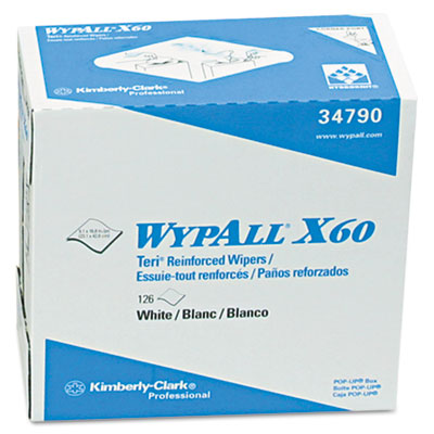 WYPALL X60 Teri Wipes, Nylon, 9-1/8 x 16-7/8, 126/Box, 10/Carton - KIM34790CT
