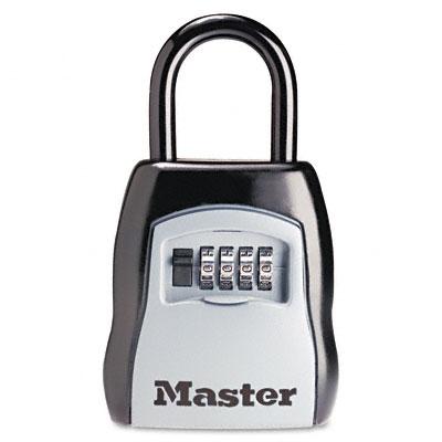 Locking Combination 5-Key Steel Box, 3 1/2w x 1 5/8d x 4h, Black/Silver - MLK5400D