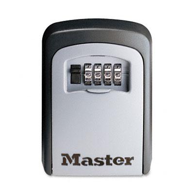 Locking Combination 5-Key Steel Box, 3 7/8w x 1 1/2d x 4 5/8h, Black/Silver - MLK5401D