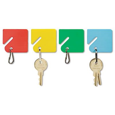 Slotted Rack Key Tags, Plastic, 1-1/2 x 1-1/2, Assorted, 20/Pack