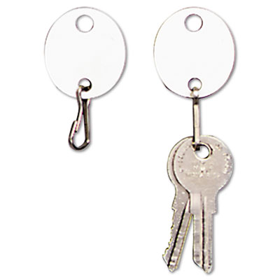 Oval Snap-Hook Key Tags, Plastic, 1-1/2 x 1-1/2, White, 20/Pack