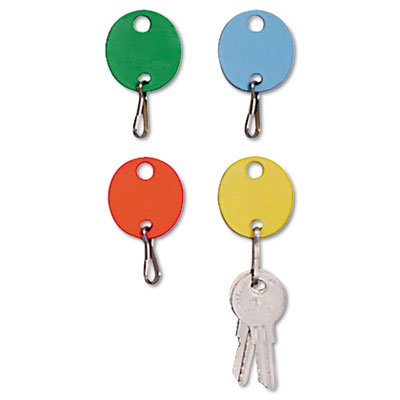 Oval Snap-Hook Key Tags, Plastic, 1-1/2 x 1-1/2, Assorted, 20/Pack