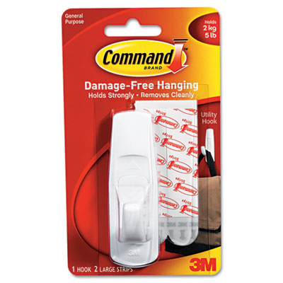 Scotch Command Removable Adhesive Utility Hook, 5-lb Capacity, Plastic, White