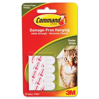 Command Adhesive Poster Strips, White, 12 Strips/Pack