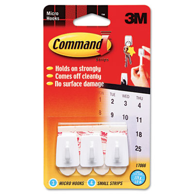 Command Adhesive Micro Utility Hooks, Plastic, White, 3/Pack