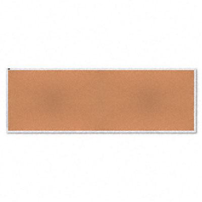 Natural Cork Bulletin Board, 144 x 48, Anodized Aluminum Frame