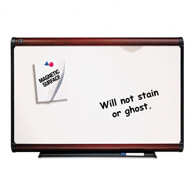 Premium Dry-Erase Board, Porcelain/Steel, 72 x 48, White/Mahogany Frame