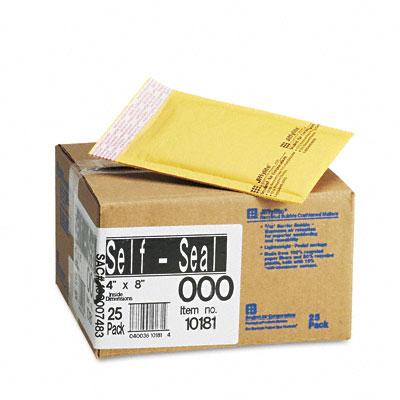 Jiffylite Self-Seal Mailer, Side Seam, #000, 4 x 8, Golden Brown, 25/Carton