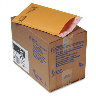 Jiffylite Self-Seal Mailer, Side Seam, #00, 5 x 10, Golden Brown, 25/Carton