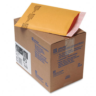 Jiffylite Self-Seal Mailer, Side Seam, #0, 6 x 10, Golden Brown, 25/Carton