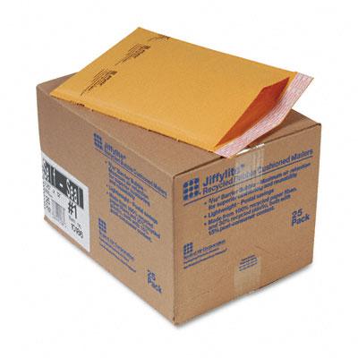 Jiffylite Self-Seal Mailer, Side Seam, #1, 7 1/4 x 12, Golden Brown, 25/Carton