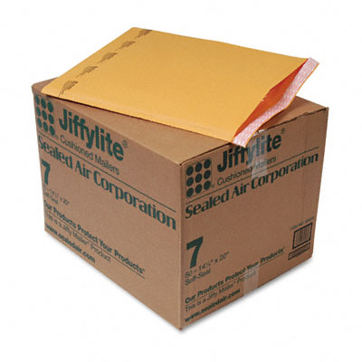 Jiffylite Self-Seal Mailer, Side Seam, #7, 14 1/4 x 20, Golden Brown, 50/Carton - SEL39098