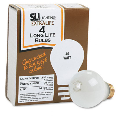 Incandescent Bulbs, 40 Watts, 4/Pack