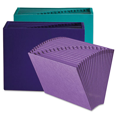 Heavy-Duty A-Z Open Top Expanding Files, 21 Pockets, Letter, Teal - SMD70717