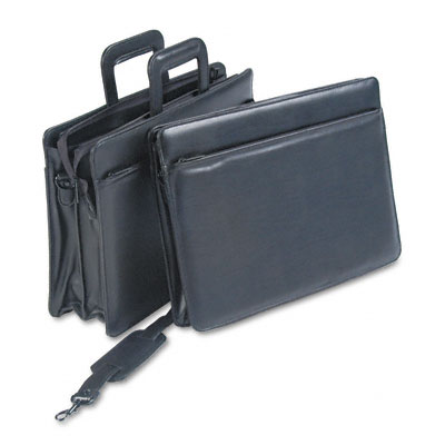 "Leatherette Zippered Portfolio, Five-Part, 4"" Capacity, 16-1/4 x 12, Black"