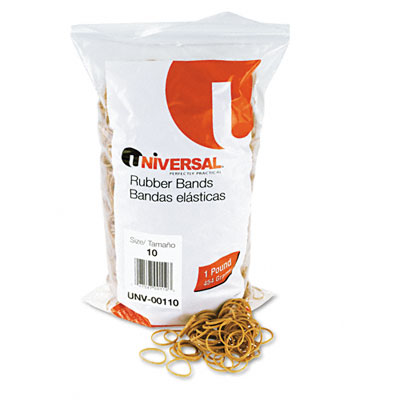 Rubber Bands, Size 10, 1-1/4 x 1/16, 3740 Bands/1lb Pack