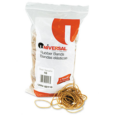 Rubber Bands, Size 16, 2-1/2 x 1/16, 2140 Bands/1lb Pack