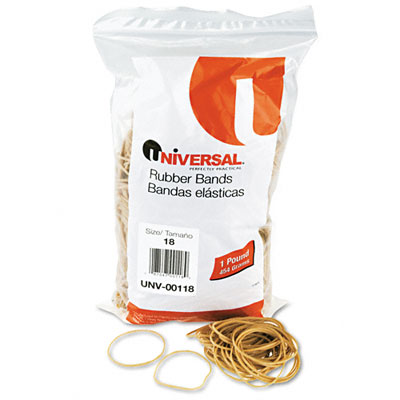 Rubber Bands, Size 18, 3 x 1/16, 1600 Bands/1lb Pack