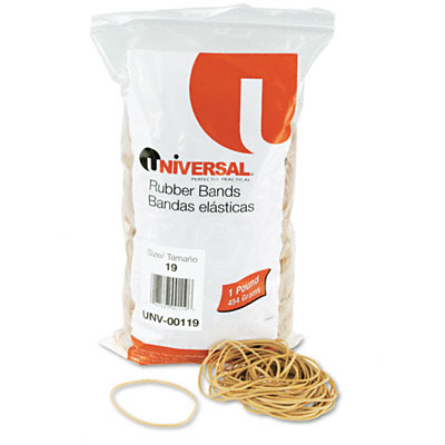 Rubber Bands, Size 19, 3-1/2 x 1/16, 1420 Bands/1lb Pack - UNV00119