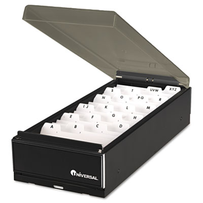 High-Capacity Business Card File, Metal/Plastic, 4 1/4x8 1/4x2 1/2, Black/Smoke - UNV10601