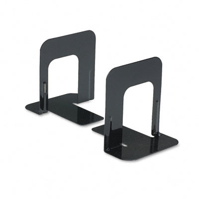 Economy Bookends, Standard, 4 3/4 x 5 1/4 x 5, Heavy Gauge Steel, Black - UNV54051