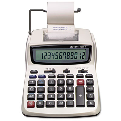 1208-2 Compact Desktop Calculator, 12-Digit LCD, Two-Color Printing, Black/Red