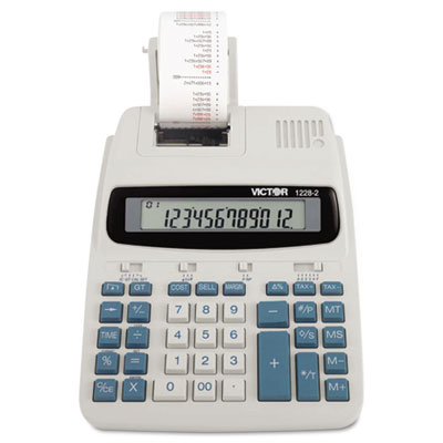 1228-2 Desktop Calculator, 12-Digit LCD, Two-Color Printing, Black/Red