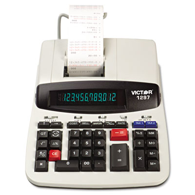 1297 Desktop Calculator, 12-Digit LCD, Two-Color Printing, Black/Red