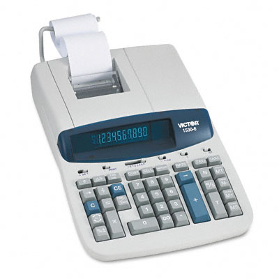 1530-6 Desktop Calculator, 10-Digit Fluorescent, Two-Color Printing