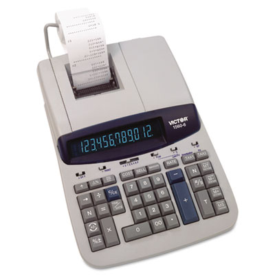 1560-6 Desktop Calculator, 12-Digit Fluorescent, Two-Color Printing, Black/Red
