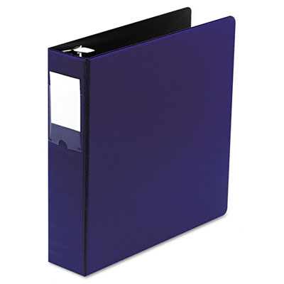 "Locking No-Gap Round Ring Binder w/Label Holder, 2"" Cap, Dark Blue"