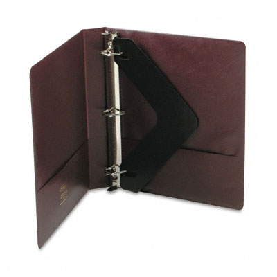 "Heavy-Duty No-Gap D-Ring Binder w/Label Holder, 1"" Cap., Burgundy"