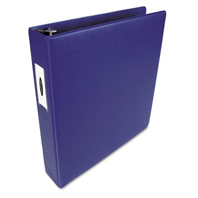"Heavy-Duty No-Gap D-Ring Binder wi/Label Holder, 1-1/2"" Cap. Dark Blue"