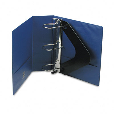 "Heavy-Duty No-Gap D-Ring Binder w/Label Holder, 4"" Cap., Dark Blue"